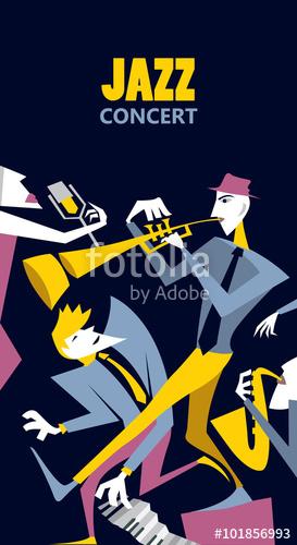 273x500 Abstract Jazz Art, Jazz Band Event Poster (Vector Art) Stock