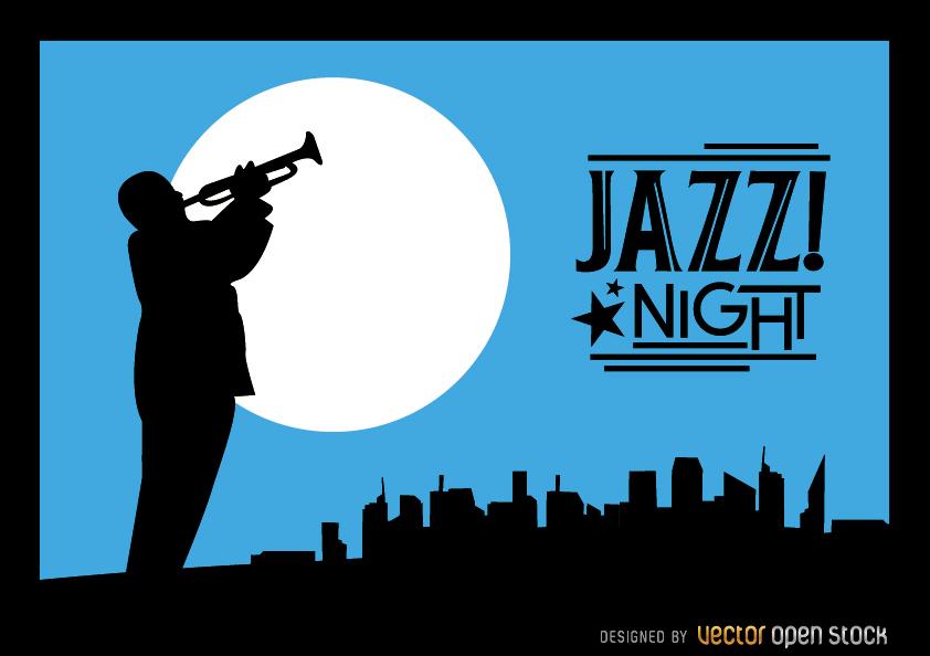 842x594 Jazz Trumpeter Silhouette City Night Skyline