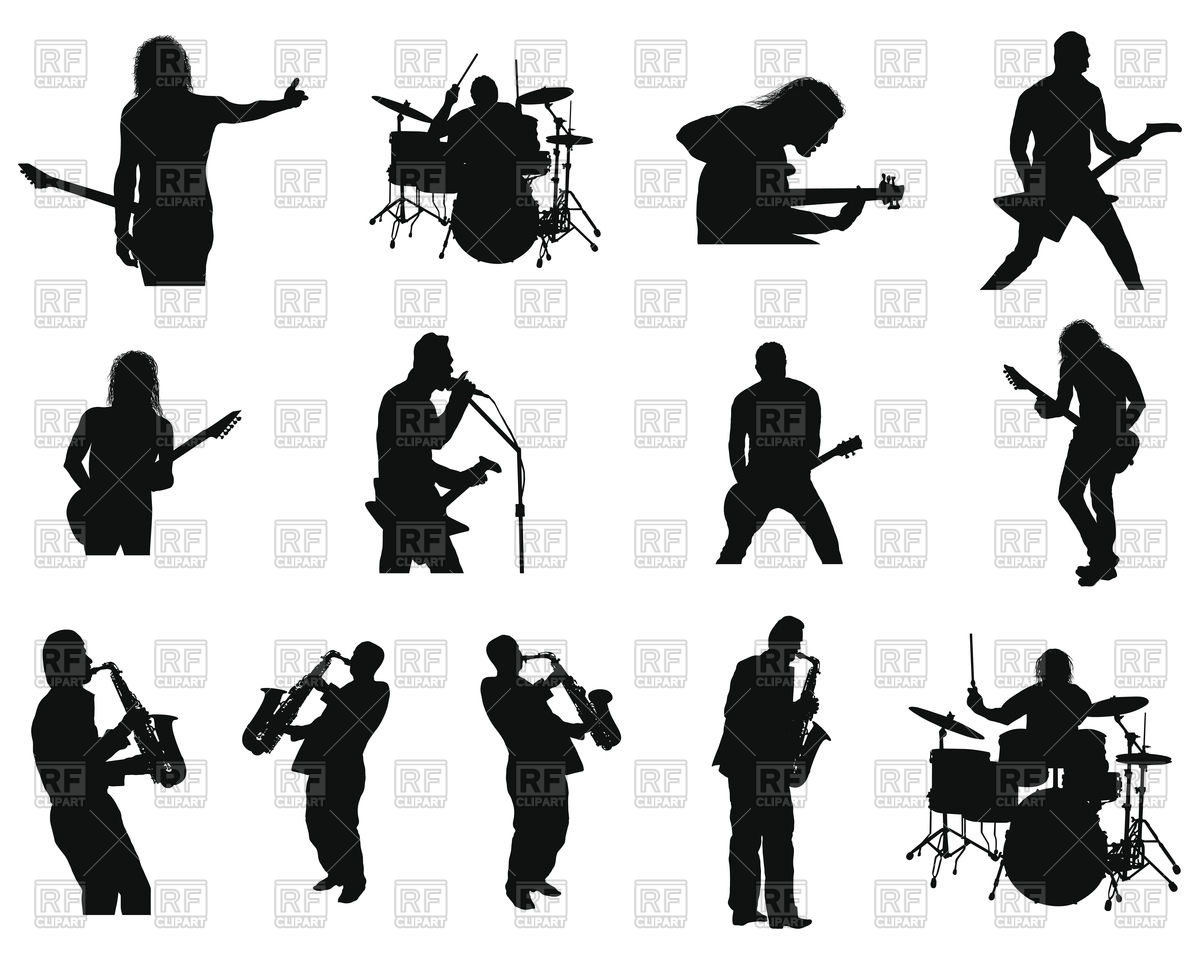 1200x960 Collection Of Different Rock And Jazz People Silhouettes Vector