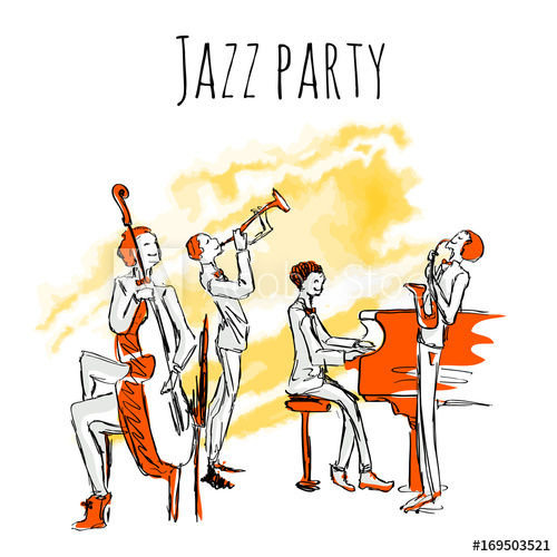 500x500 Poster Or Album Cover For Jazzband. Concert Of Jazz Music. The