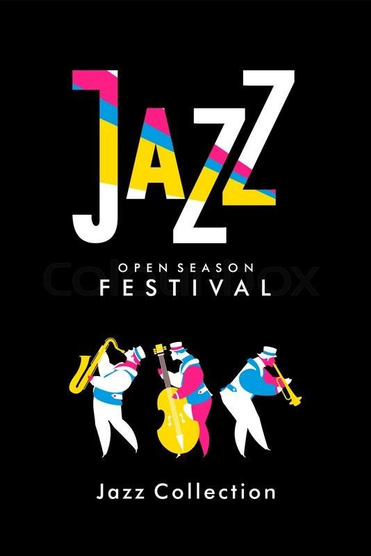 534x800 Vector Poster Presentation Music Band Jazz Bands Stock Vector