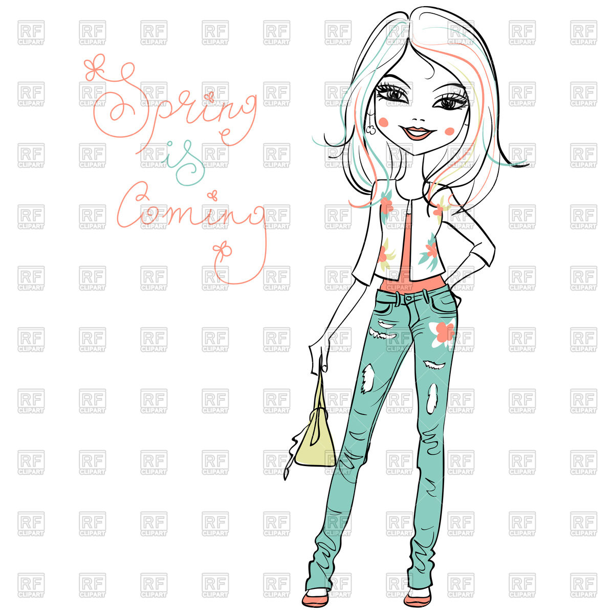 1200x1200 Hand Drawn Cute Beautiful Girl In Jeans Vector Image Vector