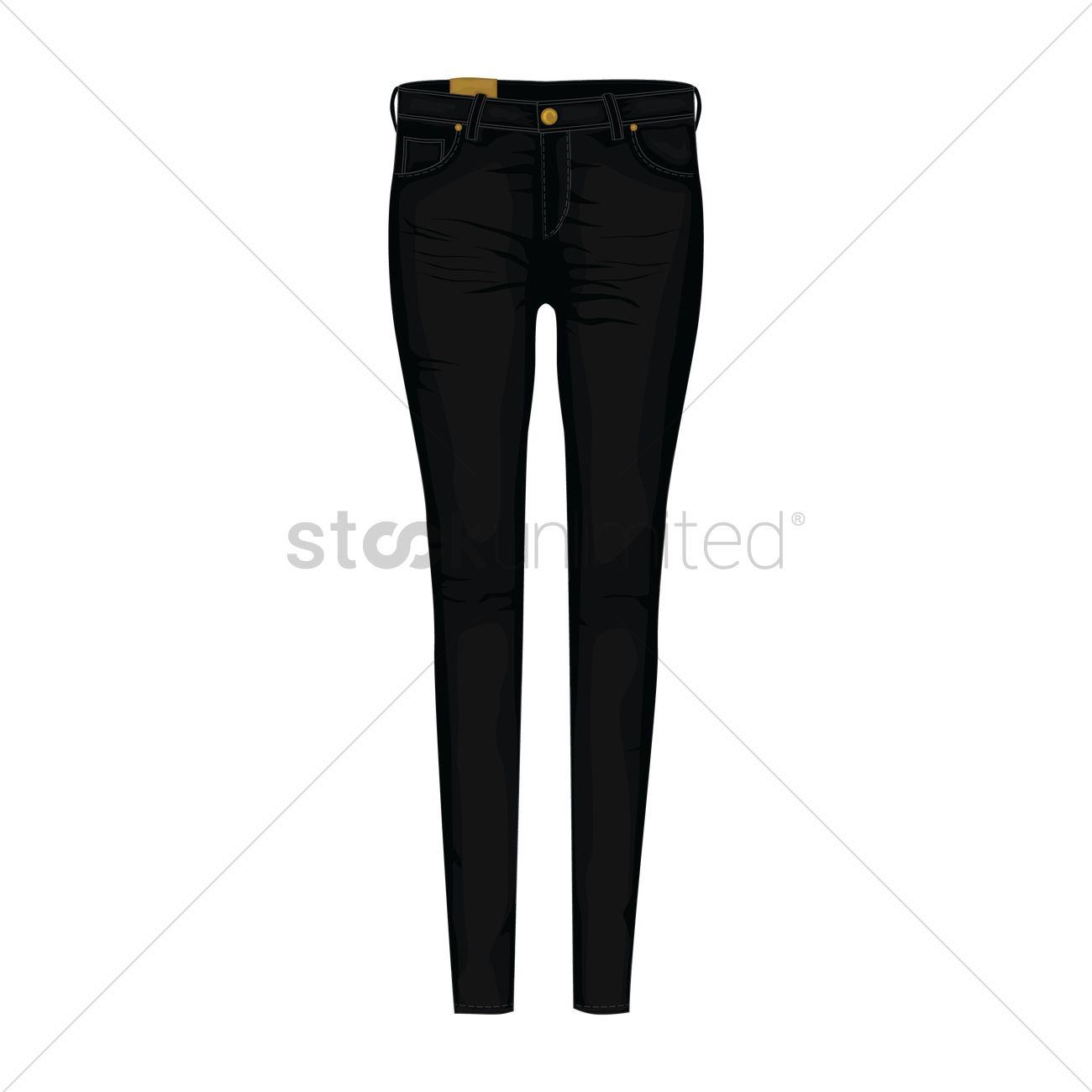 1300x1300 Black Jeans Vector Image