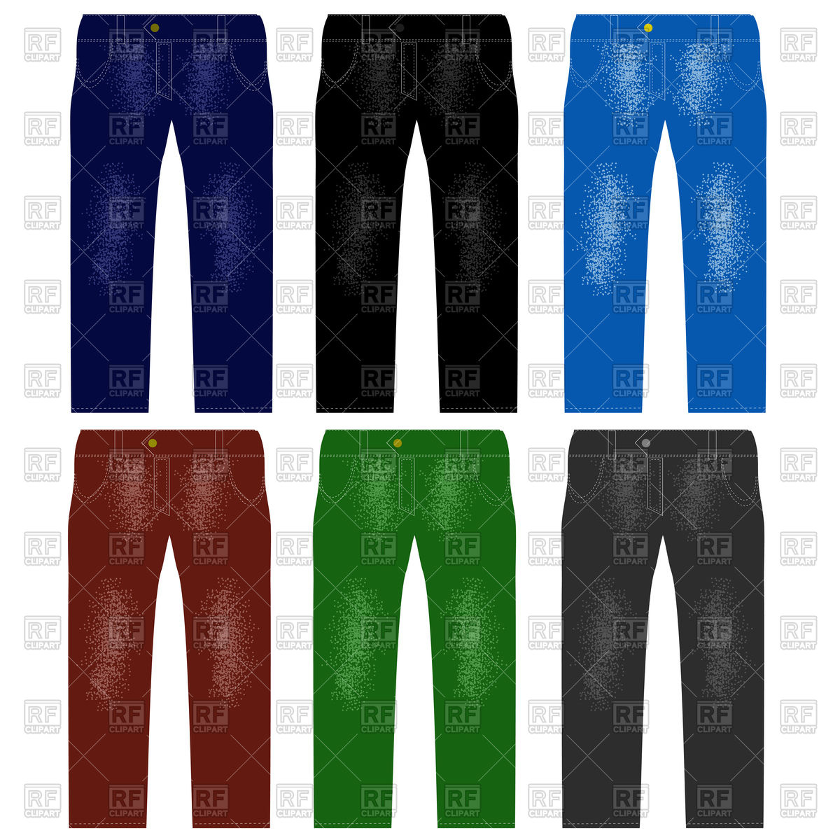 1200x1200 Set Of Colored Jeans Vector Image Vector Artwork Of Signs