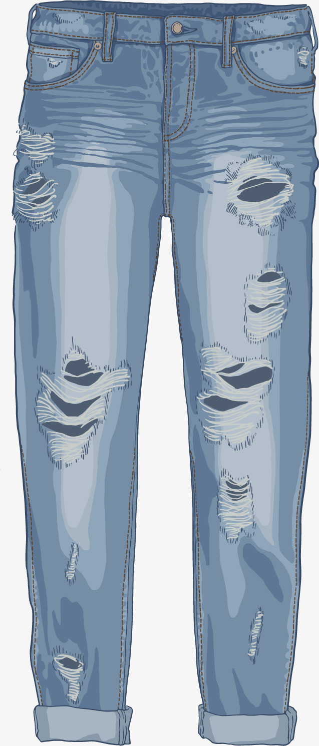 637x1490 Vector Hand Painted Jeans, Vector, Hand Painted, Jeans Png And