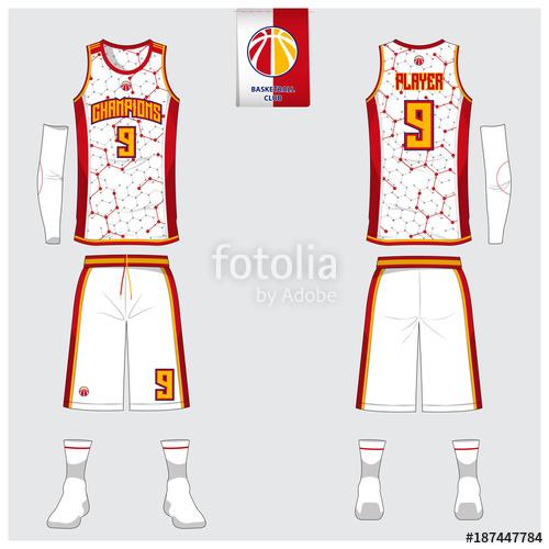 500x500 Basketball Uniform Template Design. Tank Top T Shirt Mockup For