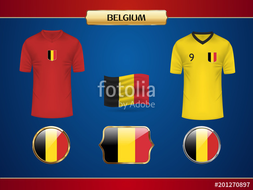 500x375 Belgium Team Football World Championship 2018 Jersey. Vector