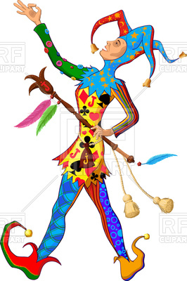 266x400 Jolly Joker (Jester) In Colorful Singing Silly Clothes On White