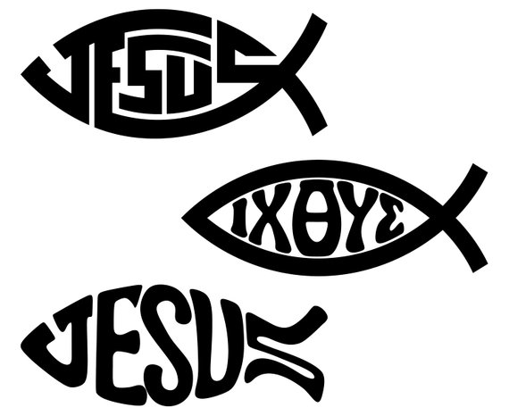 570x466 Christian Fish Symbol Christian Jesus Fish Etsy