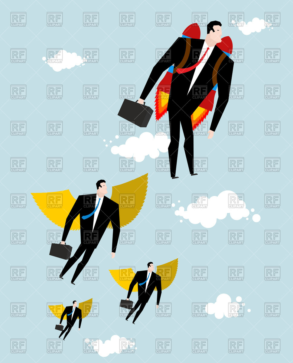 969x1200 Competition. Businessman Jet Pack Is Ahead Of Managers With Wings
