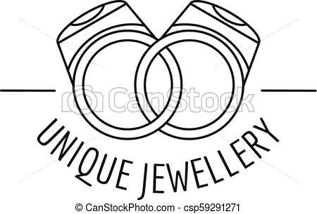 450x305 Unique Rings Jewellery Logo, Outline Style. Unique Rings Jewellery