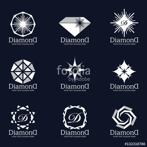 500x500 Diamond And Jewellery Logo Vector Set Design Stock Image And