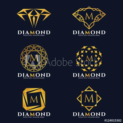 500x500 Gold Diamond And Jewellery Logo Vector Set Design