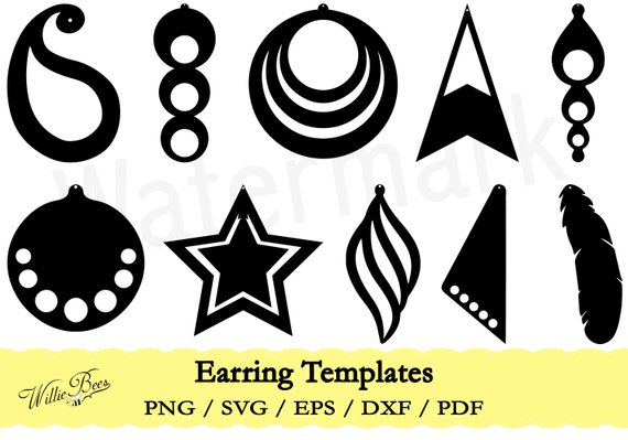 570x399 Feather Earring Template Svg Earring Template Cut File Etsy