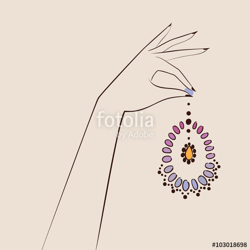 500x500 Beautiful Woman Hand Holding Jewelry . Vector Illustration Eps 1