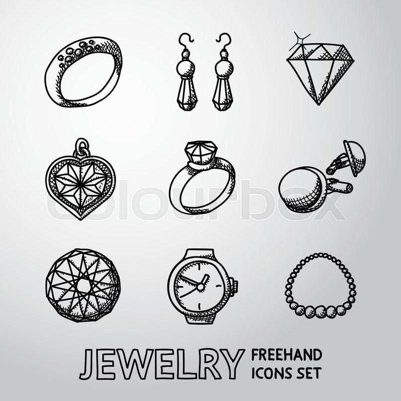 800x800 Jewelry Monochrome Freehand Icons Set