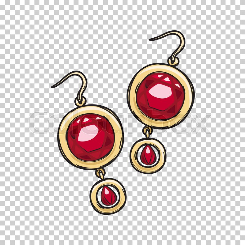 800x800 Luxurious Gold Earrings With Natural Ruby Stone Isolated On