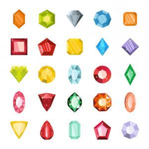 300x300 Cartoon Flat Gems Jewels Vector Orangiausa