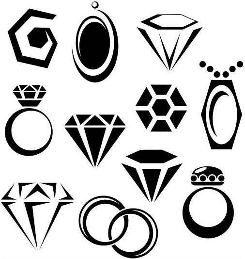 506x534 Silhouettes Jewelry Icons Ai Format Free Vector Download