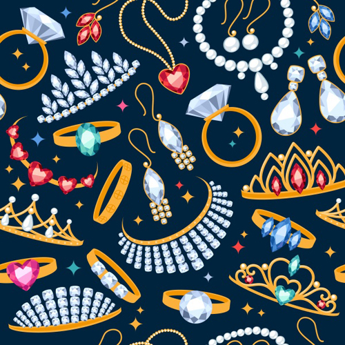 500x500 Diamond And Jewelry Pattern Seamless Vector Free Download