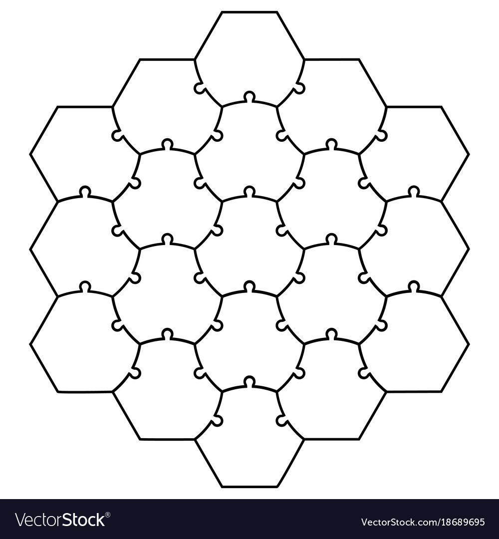 1000x1080 Hexagonal Jigsaw Puzzle Template Puzzle Vector Puzzle Template