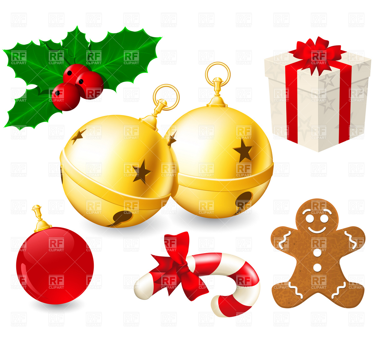 1200x1100 Jingle Bells And Christmas Decoration Vector Image Vector