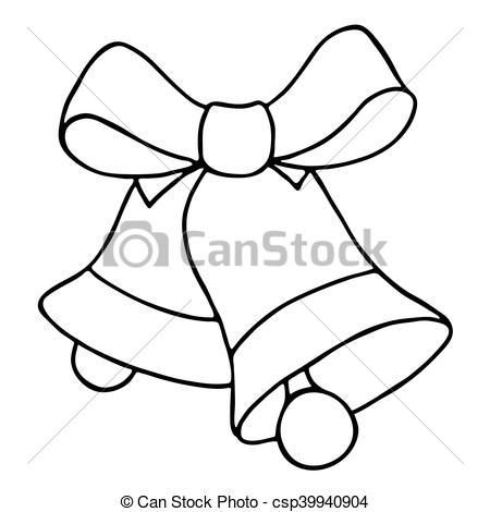 450x470 Jingle Bells With Bow On A White Background. Vector Illustration.