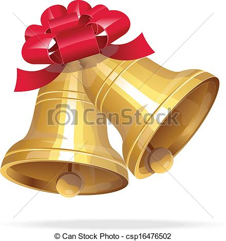 440x470 Jingle Bells With Red Bow On White Background. Vector Gold Jingle