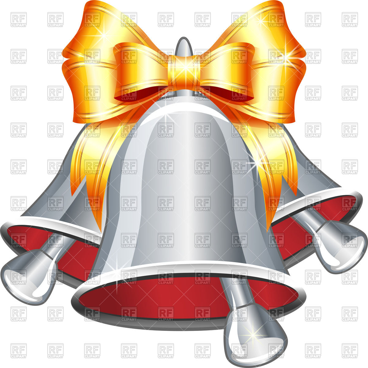 1200x1200 Silver Jingle Bells With Yellow Bow Vector Image Vector Artwork