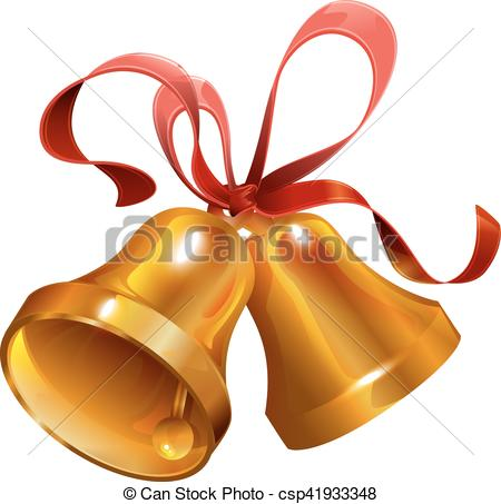 450x453 Two Gold Christmas Jingle Bell With Red Ribbon. Isolated On White