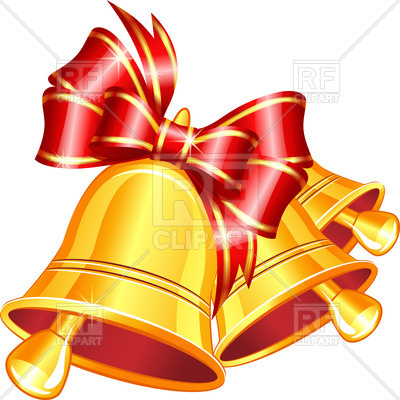 400x400 Golden Jingle Bells With Red Bow On White Background Vector Image