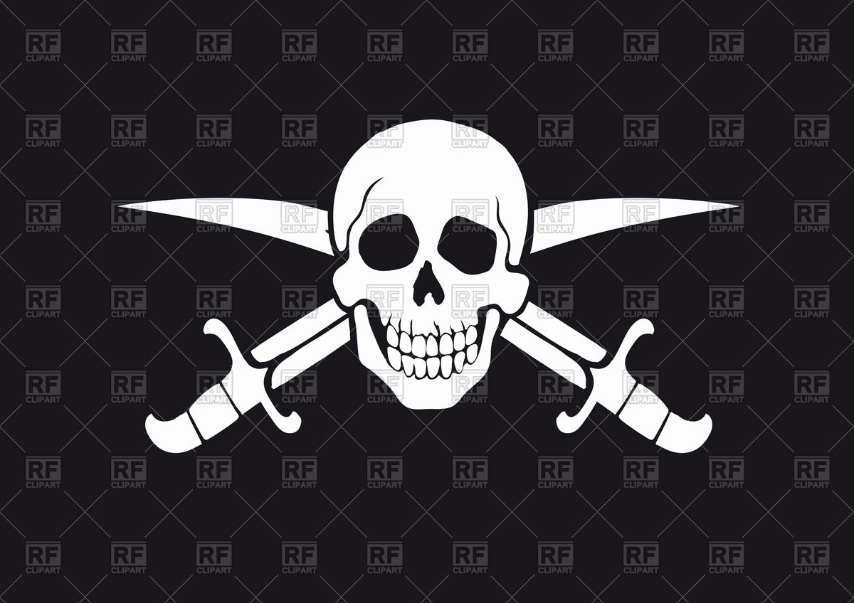 1200x848 Black And White Pirate Flag Jolly Roger With Skull And Swords