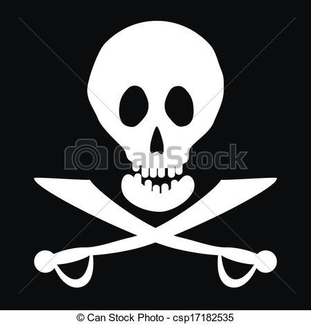 450x470 Jolly Roger Flag. Vector Illustration.