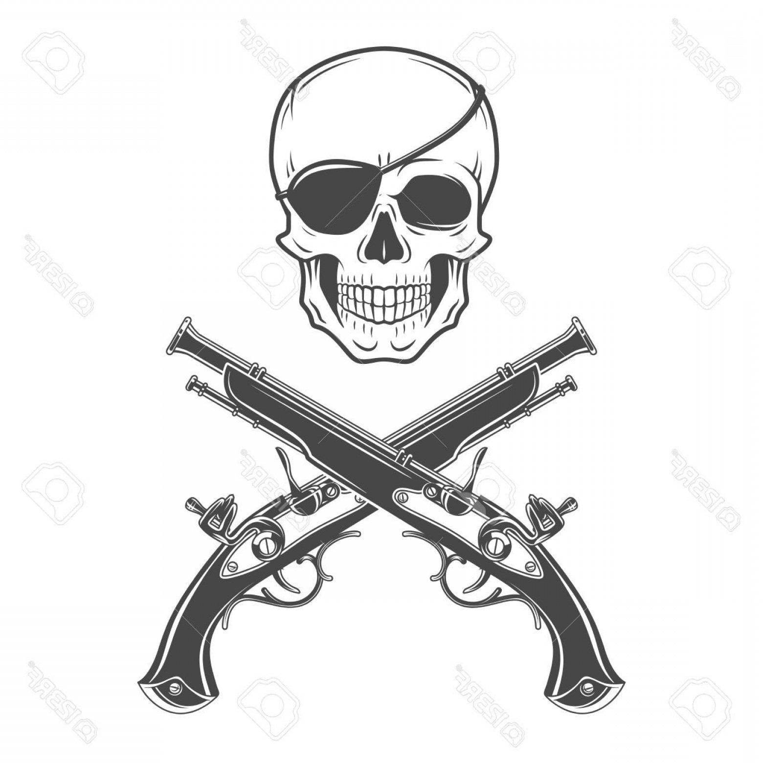 1560x1560 Photostock Vector Jolly Roger With Eyepatch And Pistols Logo