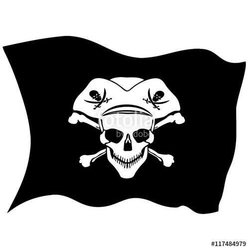 500x500 Pirate Symbol Jolly Roger Skull. Vector Flag Stock Image And