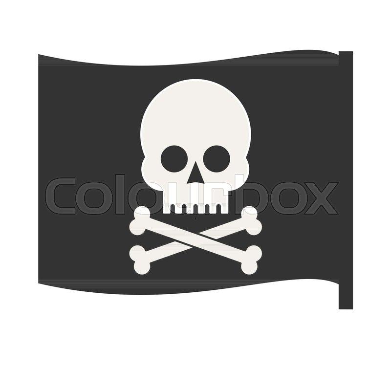 800x800 Pirate Vector Flag. Jolly Roger. Stock Flat Vector Illustration
