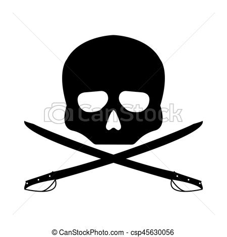 450x470 Pirate Vector Flag. Flat Sign On White Background. Jolly Roger