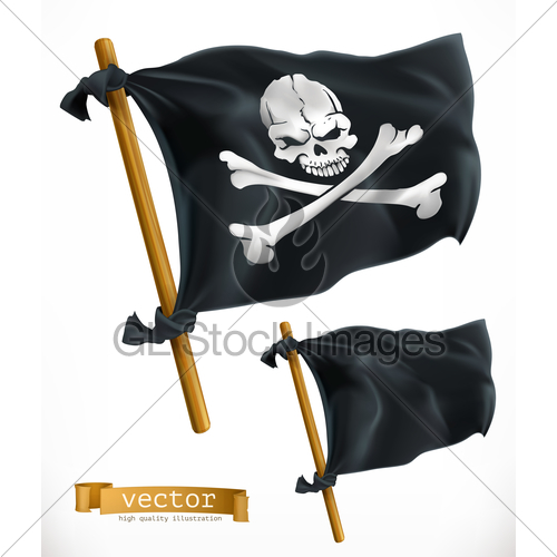 500x500 Pirate. Black Flag. Jolly Roger 3d Vector Icon Gl Stock Images