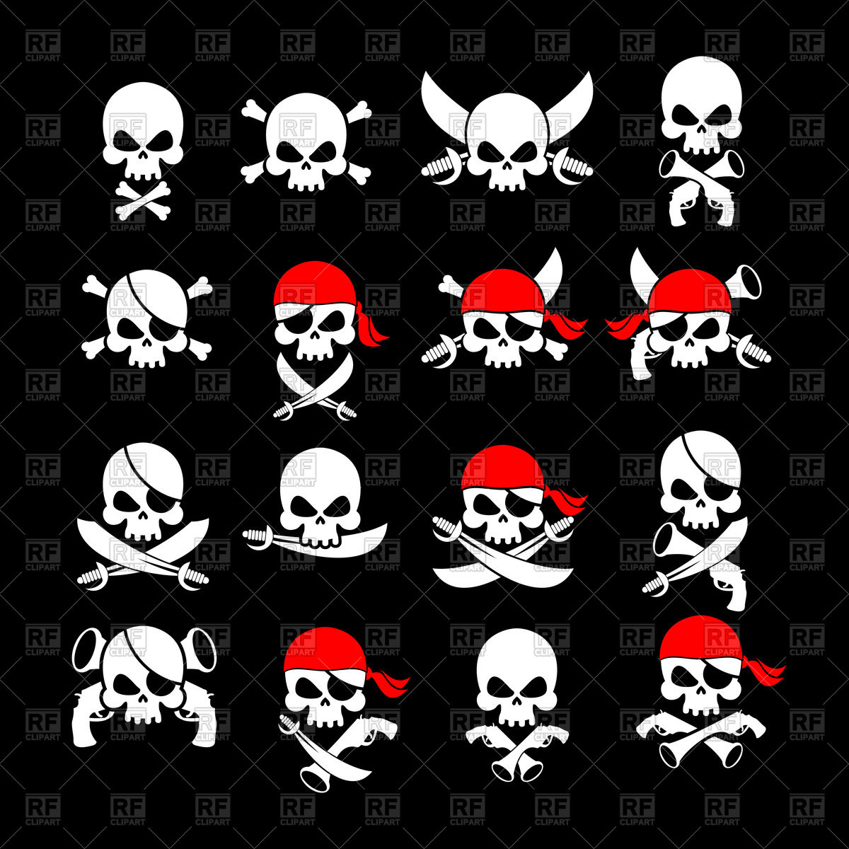 1200x1200 Set Of Jolly Roger Icon, Skull And Crossbones With Sabre And Sword