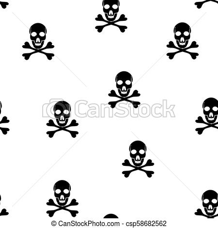 450x470 Vector Seamless Pattern With Skulls And Bones. Jolly Roger. Vector
