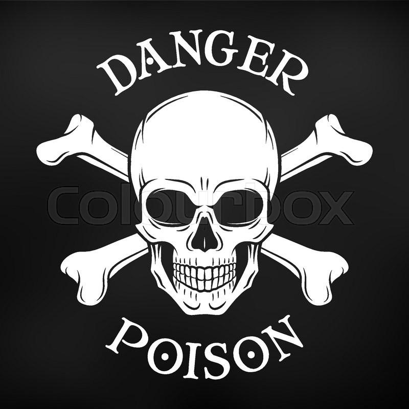 800x800 Danger Skull Vector On Black Background. Jolly Roger With