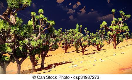 450x273 Joshua Trees On Desert. Joshua Trees On The Desert Stock