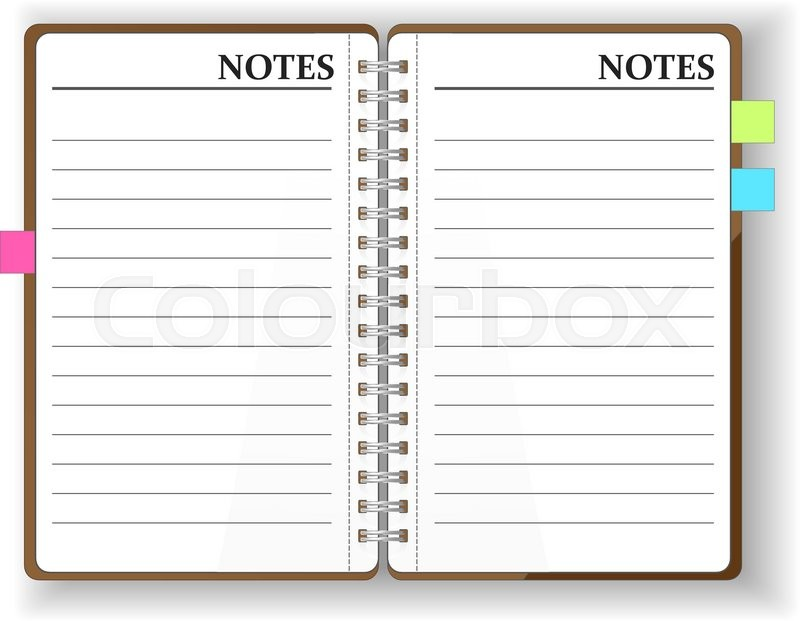 800x621 Vector. Stationery. An Open Pocket Diary, Notebook , Scrapbook