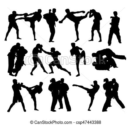 450x429 Judo And Free Boxing Silhouettes, Art Vector Design.