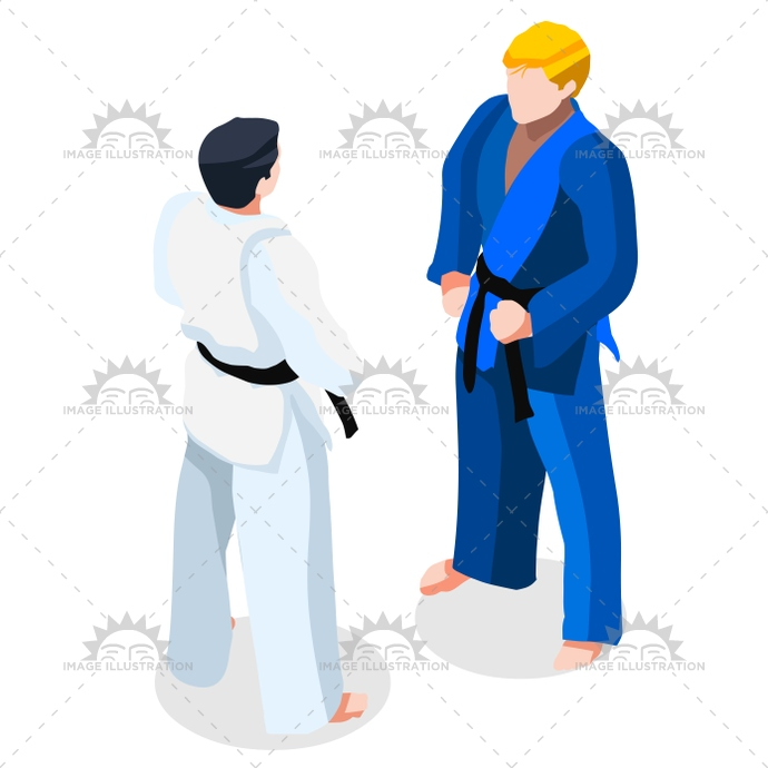 690x690 Judo Fight 2016 Sports 3d Isometric Vector Illustration