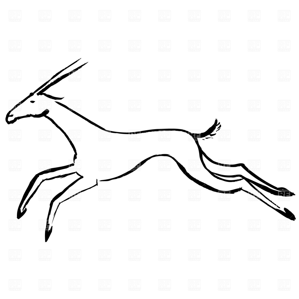 1200x1200 Antelope In Jump Vector Image Vector Artwork Of Plants And