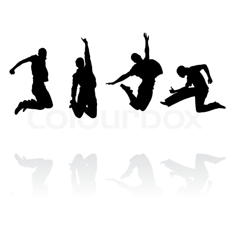 800x800 Jumping Men Silhouettes With Reflection, Vector Illustration