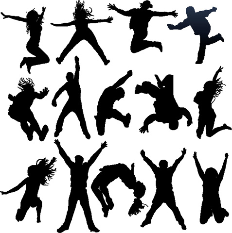 477x480 Jumping People Silhouettes Vector Free Vector In Encapsulated