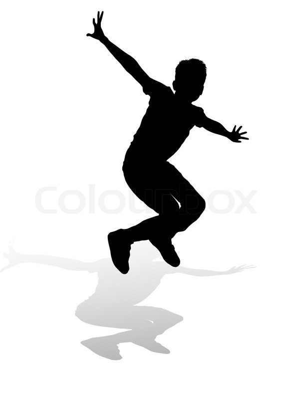 599x800 Silhouette Boy Of Jump Stock Vector Colourbox