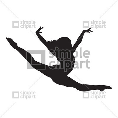 400x400 Silhouette Of Gymnast Doing The Split In Jump Vector Image